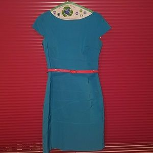 Aqua blue dress with coral belt